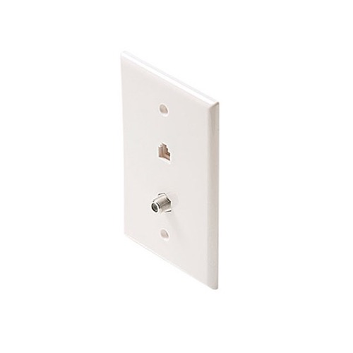 Leviton C2650W Dual Wall Plate 6 Conductor Phone Jack F Type Coax ...
