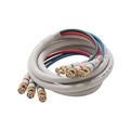 Steren 254-412IV 12' FT Python HDTV 3-BNC to 3-BNC Male Video Component Cable Ivory RGB 75 Ohm Audio Video Gold Y/Pr/Pb Pro Grade Color Coded Double High Density Shield BNC - BNC Digital Signal Jumper, Part # 254412-IV