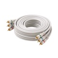Steren BL-216-506IV 6' FT RCA Video Cable Component Ivory 3 RCA Male to 3 RCA Male Double Shielding Color Coded Gold Plated Connectors Python 3-RCA Cable Digital Signal Jumper, Part # BL216506-IV