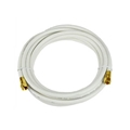 Steren 205-450WH 150 FT RG6 Coaxial Cable White with Gold F-Connector Each End 75 Ohm 3 GHz RG-6 RG6 Coax Cable Digital Satellite Dish TV Signal Distribution Line Video Jumper, Part # 205450-WH