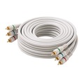 Eagle 25' FT RCA Video Component Cable 3 RCA Male to Male Ivory Gold Python Shielded Color Coded Gold Plated Connectors Python Cable Stereo Double Shielded 3-RCA Cable Digital Signal Jumper