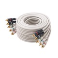 Eagle 100' FT 5-RCA Python Cable Component Gold HDTV Audio Video Ivory Ribbon Male Color Coded RGBRW Gold Plated Connectors Stereo Double Shielded 5- RCA A/V Cable Digital Signal Jumper