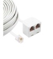 Petra Modular Extension Cord 25' FT Ivory Dual 6P6C Duplex Adapter Jack RJ12 6 Conductor Phone Line RJ-12 Jack Plug Male with Twin Data Signal Jack Connector