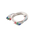 Eagle 12' FT 3-RCA Component Video Cable Male to Male Python RGB Mini Ultra Flex Satin Ivory Oxygen Free HDTV Video Signal Transfer PVC Jacket Plug Connector Interconnect Cable