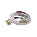 Eagle 12 Ft 3 RCA Male to 3 BNC Male Cable Component Ivory Gold Python HDTV  Audio Video Gold RGB Y/Pr/Pb Pro Grade Color Coded Double High Density Shield RCA - BNC