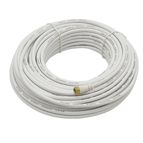 100ft RG6 F-Type Coaxial 75Ohm White Cable for Antennas  Cable and Satellite TV