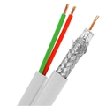 Eagle 29W2P 500' FT RG6 Coaxial Cable 18 AWG Solid Bare Copper Center Siamese With 22 AWG 2 Conductor White Data Telephone Security, Part # 29W2P