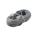 Steren 306-025SL 25' FT Telephone Cord 6 Conductor Silver Satin Flat Line with Plug Connectors Each End Modular 6P6C RJ12 Phone Connect RJ-12 Communication Wire Extension Cable, Part # 306025-SL