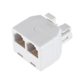 Leviton C0247-W 2-Way Wall Modular Phone Adapter RJ11 White Dual T Splitter Line RJ-11 Twin 2 Outlet Telephone Plug Jack Duplex Converter Connection Snap-In, Part # C0247W
