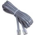 15' FT Phone Line Cord Cable Flat Modular RJ11 6P4C Plug Jack Connect Silver Satin Gray Data Communication Telephone Wire Extension Cable with Snap-In Wall, Part # LC15