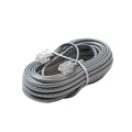 Eagle 100' FT Flat Phone Cord Modular Silver Satin 4 Conductor with Plug Connector Each End Telephone Line Cord Cable Wire with Ends 6P4C Flat 4-Conductor Phone RJ11 Stranded Cord RJ-11 Plug Connectors Wire Extension Cable