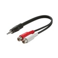 "Steren 255-038 6"" Inch 3.5mm Male To 2 Dual RCA Female Stereo Cable Y Male to RCA Cable Adapter Shielded 3.5 mm to RCA Audio Splitter Cable Signal Separating Shielded Push-In Component Jack Plug Connector, Part # 255038"