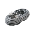 Eagle 12' FT Telephone Cord Cable Satin Silver 4 Conductor RJ11 Plugs Each End Modular Flat Voice Data Telephone Line 6P4C RJ-11 Phone Cord Cross-Wired for VoIP