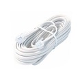 Eagle 15' FT Telephone Cord White 4 Conductor with RJ11 Plug Modular Flat Cable Line 6P4C Cross-Wired for VoIP