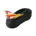 Steren 206-288 50' FT 3 RCA Composite Cable Dual Shielded Male to Male Gold PLated Audio Video Triple Plug, Part # 206288