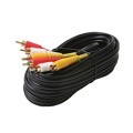 Steren 206-289 60' FT Stereo 3-RCA Male to Video 3-RCA Cable Patch Shielded GOld Plate Cord Audio A/V Composite Triple Red/Yellow/White Dubbing Audio Video Digital Signal DVD VCR Hook-Up Jumper with Plug Connectors, Part # 206289