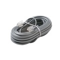 Steren 304-050SL 50' FT Cord Modular Line Flat Telephone Silver Gray Satin Cable 4-Wire Copper Conductor 28 AWG RJ11 Plug Connector Each End 6P4C Flat Phone Cord Cable RJ-11 Cross-Wired for VoIP, Part # 304050-SL