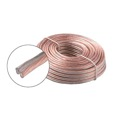 Eagle 50' FT 18 AWG GA Speaker Cable 2-Conductor Clear Coil Zip Wire High Quality Pro Grade Flexible PVC Jacket Audio Copper Wire 18/2 Stereo Connection Signal Receiver Component Hook-Up Extension Line