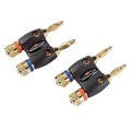 Pair of Two Dual Banana Speaker Cable Adapters Home Theater Monster Gold Plate MBD R-HT MKII Banana Connectors Speaker Cable Pins Original Digital Audio Signal Home Theater Crimpless Connector, Push-In Lock Notch Adapter, Part # MBD RHT