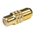Eagle RCA Female F Male Adapter Coupler Gold F-81 Female to Coaxial Barrel Coupler Gold RCA Female to F-81 Female Coupler 1 Pack Splicer Coax to RCA Adapter Connector Jointer