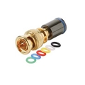Steren 200-082-10 Mini RG-59 BNC Compression Connector with 6 Color Bands 10 Pack PermaSeal II Gold Plate Coaxial Cable Snap-On Line Plug Adapter, RF Digital Audio Video RG59 Connector
