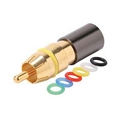 Steren 200-085-10 RCA Compression Connector RG6 10 Pack  Gold Male with 6 Color Coded Bands Permaseal II Female to RCA Male Plug Adapter, RF Digital Commercial Audio Video Component, Part # 200085-10