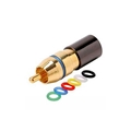 Steren 200-087-10 RCA Compression Connector Quad Shield RG6 with 6 Color Coded Bands Gold Plated Permaseal II RG-6 Female to RCA Male Plug Adapter, RF Digital Commercial Audio Video Component, Part # 200087-10