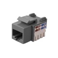 Steren 310-110GY CAT5e Keystone Jack Insert RJ45 Gray 110 Type Modular Multi-Media Datacom 8P8C Network Connector CAT-5e RJ-45 QuickPort 8 Wire Twisted Pair Snap-In Telecom Port, Part # 310110-GY