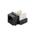 Steren 310-120BK CAT5e RJ45 Keystone Insert Black Modular UL 110 IDCJack Ethernet RJ-45 Connector CAT 5e Network 8P8C 8 Wire Twisted Pair QuickPort Modular Telephone Wall Plate Snap-In Insert Data Telecom, Part # 310120-BK