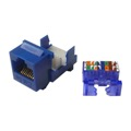 Steren 310-131BL CAT5E Keystone Jack Insert Blue Tooless RJ45 Connector CAT-5E Network 8P8C RJ-45 QuickPort 8 Wire Twisted Pair Modular Telephone Wall Plate Snap-In Insert Computer Data Telecom, Part # 310131-BL