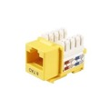 Eagle CAT6 Keystone Jack Yellow 90 Degree RJ45 Connector Fast Media Network Gold 50 Micron Insert 8P8C QuickPort RJ-45 8 Pin Wire Twisted Pair Modular Wall Plate Snap-In Computer Telecom