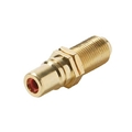 Steren 251-507-10 Single F to RCA Coupler Adapter Gold Plated Connector RED BAND Insert Wall Plate Coaxial to RCA Female Plug Jack 1 Component Connector, 10 Pack, Part # 251507-10