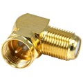 Channel Master 3271 Gold Plated F90 Connector Right Angle Adapter Coaxial Cable Jack Male to Female F-90 Degree Connector Coax Cable Component AV Fitting RF Digital, Part # 3271