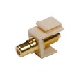 Steren 310-454IV Keystone RCA Female Jack to F Connector Adapter Multicolored Bands Insert Ivory Gold Plate QuickPort Audio Video Snap-In, Wall Plate Snap-In Data Junction Component Connection, Part # 310454-IV