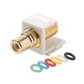Eagle F Female to RCA Female Keystone Jack White Insert Gold White Multicolored Bands Connector Adapter Plate QuickPort Audio Video Snap-In, Wall Plate Snap-In Data Junction Component Connection