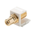 Steren 310-465WH-10 Single F to RCA 10 Pack Gold Plated Keystone Insert Module Jack Connector Barrel RCA to F81 75 Ohm Snap-In Plug QuickPort Coax Cable TV Video Signal Plug Wall Plate Component, Part # 310465-WH-10