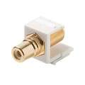 Steren 310-465WH Single F to RCA Gold Plated Keystone Insert Module Jack Connector Barrel RCA to F81 75 Ohm Snap-In Plug QuickPort Coax Cable TV Video Signal Plug Wall Plate Component, Part # 310465-WH