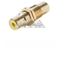 Steren 251-506YL RCA Female Jack to RCA Jack Coupler Audio Video Gold Plate Brass Insert YELLOW BAND Round Adapter Insert Wall Plate RCA to RCA Plug Jack 1 Component Connector, Part # 251506-YL