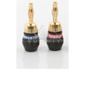 Monster Cable QL GMT-B QuickLock Gold Banana Connector Audio Male Banana Speaker Pin 24k Gold Plated 1 Pair 2-Lot Two Piece Screw-On Self Termination 1 Red / 1 Blue Crimpless Audio Connector, Part # QL GMTB