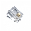 Leviton C0257 RJ-11 Modular Plug Connector 6 Pack 6P4C Flat Telephone Cable Cord 4 Wire Jack Snap-In Clear Line Crimp-On Plugs