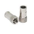 Stirling SPP-59 RG59 Push-On F Connector Push-Lock Type All Brass Nickel Plated No Crimp or Compression Tool Needed RG-59 Push Lock Crimpless Coaxial Plug Connector, Sold as Singles, Part # SPP59