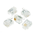 Steren 301-064-25 RJ11 Phone Jack Plug Connector 25 Pack 4 Conductor Flat Stranded 6P4C Modular Wire Prong Telephone Line Snap-In Crimp-On Plugs, Clear, Part # 301064-25