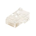 Steren 300-170 RJ45 Connector 8 Pin Round Stranded Plug 8X8 Modular Gold Plate 24-26 AWG 6 Micron 8P8C Male Modular RJ-45 Plug Connector 1 Pack Network Connector Data Telephone Line Plugs, Part # 300170