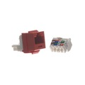 Channel Master CAT3 Keystone Jack Red RJ12 6 Wire Conductor Insert 110 Punch Down 6P6C RJ12 Telephone Insert RJ-11 CAT-3 RJ-12 Modular Plug QuickPort Snap-In Line with Gold Contacts for Signal Transfer, Part # AC3KJR