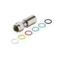 Eagle RG59 Compression Connector Coaxial Mini PermaSeal Weatherproof 6 Color Bands Nickel Plated Machined Brass Coded Bands 360 Degree 1 Single Pack Mini RG-59 Perma Seal II F Compression Connector