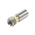 Steren 200-006 F-RG6 Perma Seal Compression Connector Coaxial Cable Weatherproof Design Nickel Plated Yellow Band 1 Single Pack Coax RG-6 PermaSeal F Connector, Part # 200006