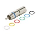 Eagle RCA Compression Connector RG59 Coaxial Permaseal II Six Color Rings Audio Video RG59 Precision Nickel Plated A/V RG-59 Connectors RCA Perma Seal with 6 Color Bands, 1 Pack
