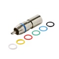 Steren 200-070 RCA Perma Seal II RG6 Quad Connector Nickle Plated Brass with 6 Color Bands RG-6 Quad Compression F Coaxial Cable to RCA Plug 1 Single Pack, Part # 200070