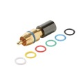 Steren 200-081 Mini RG59 RCA PermaSeal II Compression Coaxial Connector 360 Degree Connect High Performance Gold Plated Brass 6-Color Bands Audio Video Perma Seal II RG-59 A/V Connectors, 1 Pack, Part # 200-081