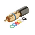 Steren 200-083 RG-59 RCA Compression Connector with 6 Color Coded Bands Gold Plated Permaseal II RG59 Female to RCA Male Plug Adapter, RF Digital Commercial AV Component, Part # 200083